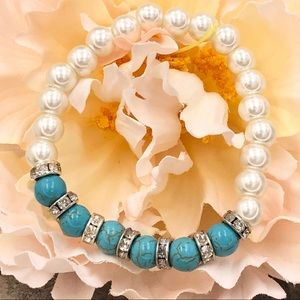 🍀CLOSEOUT🍀Faux Pearl Turquoise Stretch Bracelet